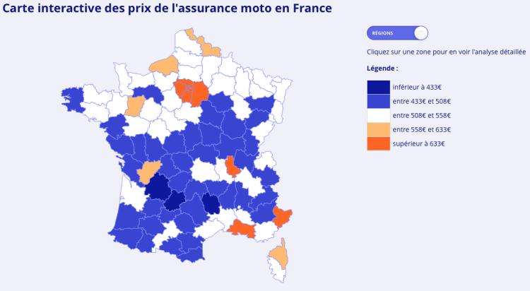 Combien Coûte Une Assurance Deux-Roues En France ? | Lesfurets dedans Combien De Departement En France