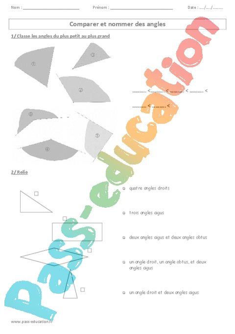 Comparer Et Nommer Des Angles - Ce2 - Cm1 - Cm2 serapportantà Nommer En Anglais