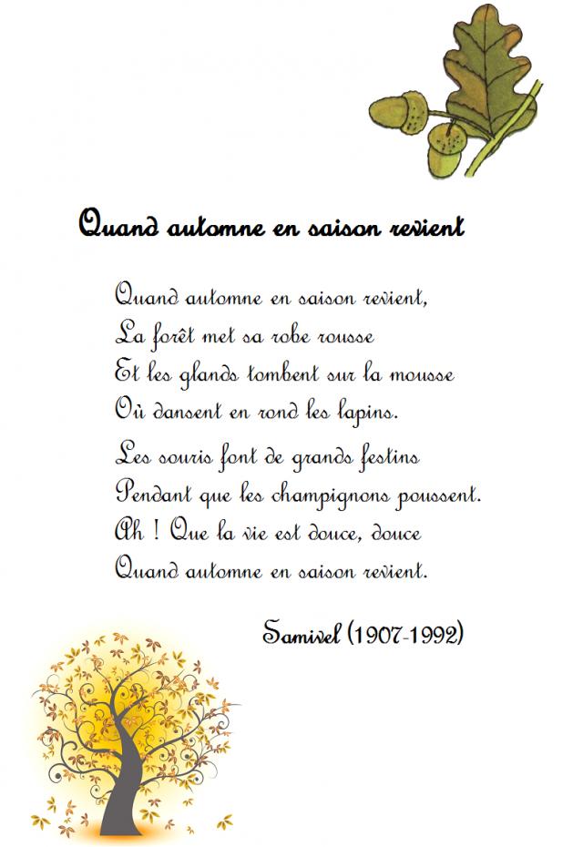 Comptine Automne, Chanson Automne, Poésie Automne concernant Poésie Automne Maternelle