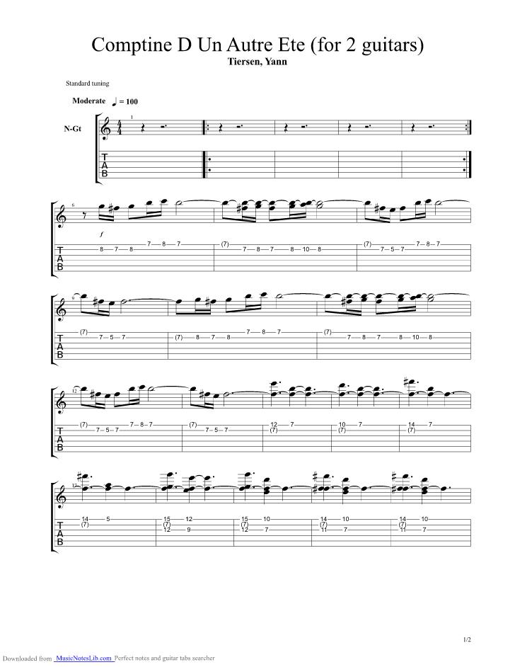 Comptine D Un Autre Ete For 2 Guitars Guitar Pro Tab By dedans Comptine Été