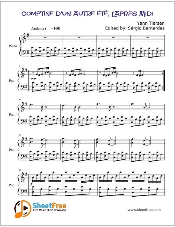 Comptine D'Un Autre Été, L'Apres Midi Sheet Music For encequiconcerne Comptine Été