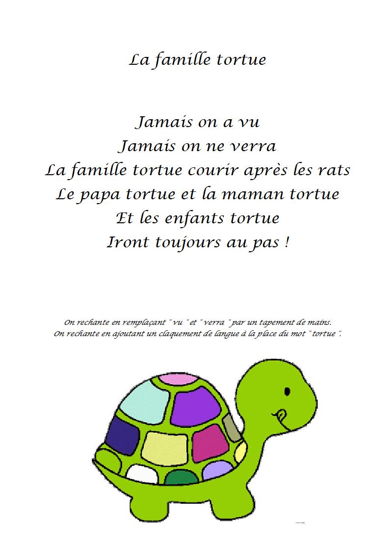 Comptine La Famille Tortue - Paroles Illustrées De La pour Paroles Comptines Maternelle