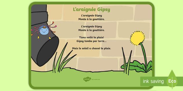 Comptine : L'Araignée Gipsy (Teacher Made) pour Gipsy L Araignée