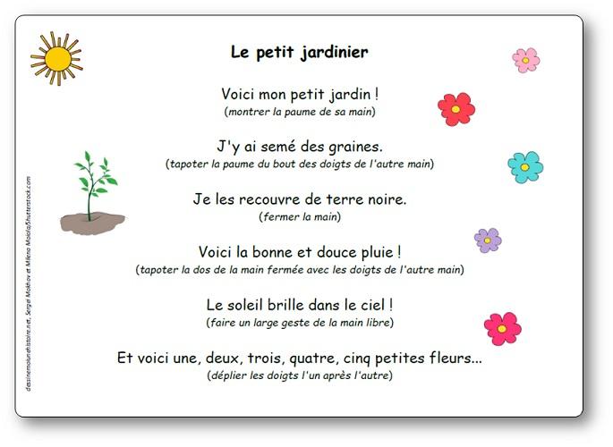 Comptine Le Petit Jardinier - Paroles Illustrées De La intérieur Petite Fleur Chanson