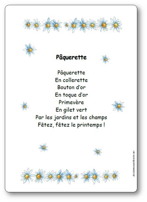 Comptine Pâquerette - Paroles Illustrées - Pâquerette En destiné Poésie Printemps