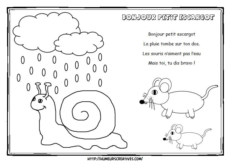 Comptines Et Chansons concernant Petit Escargot Paroles Et Gestes