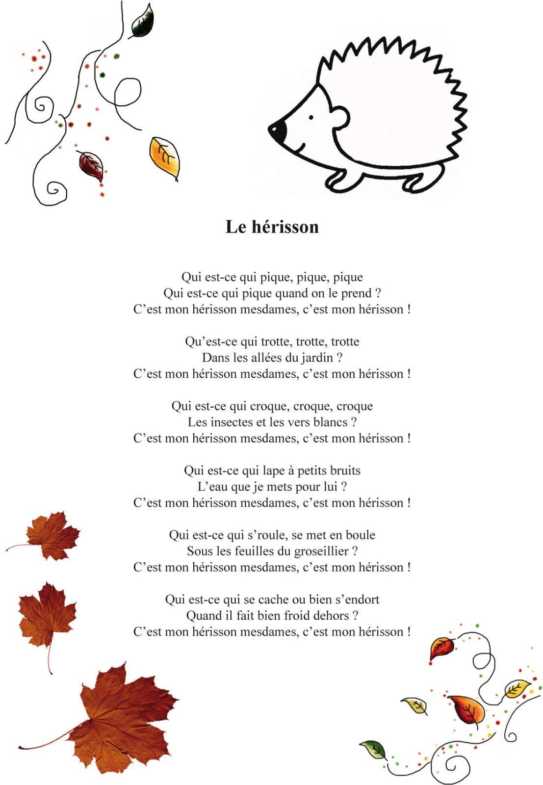 Comptines : Le Hérisson   Comptines, Comptine Hérisson Et intérieur Poésie Printemps Maternelle