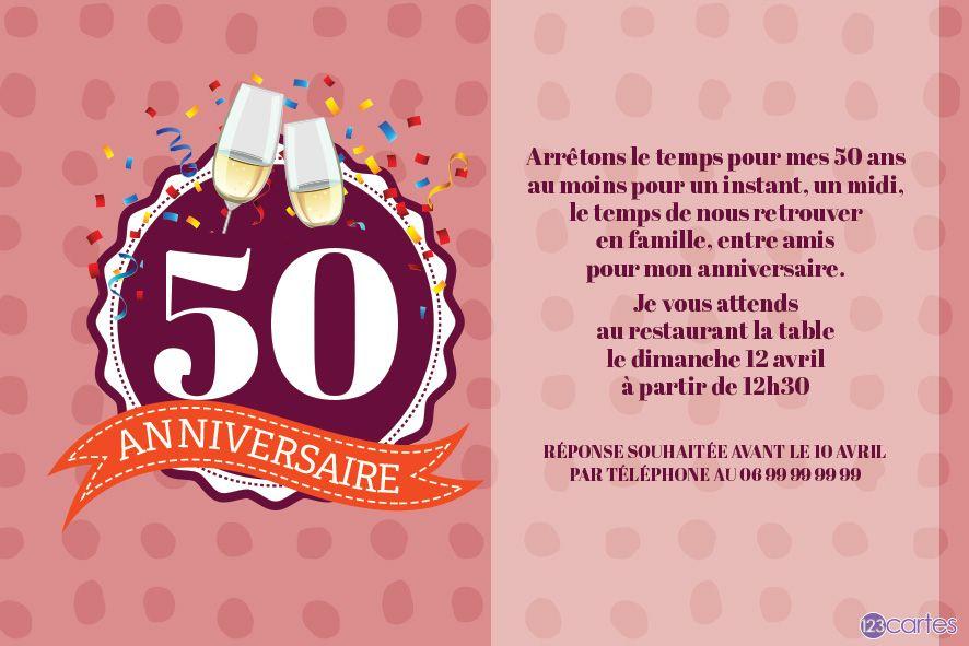 Confettis Et Flûtes À Champagne - Invitation Anniversaire concernant Texte Humoristique Invitation Anniversaire 50 Ans