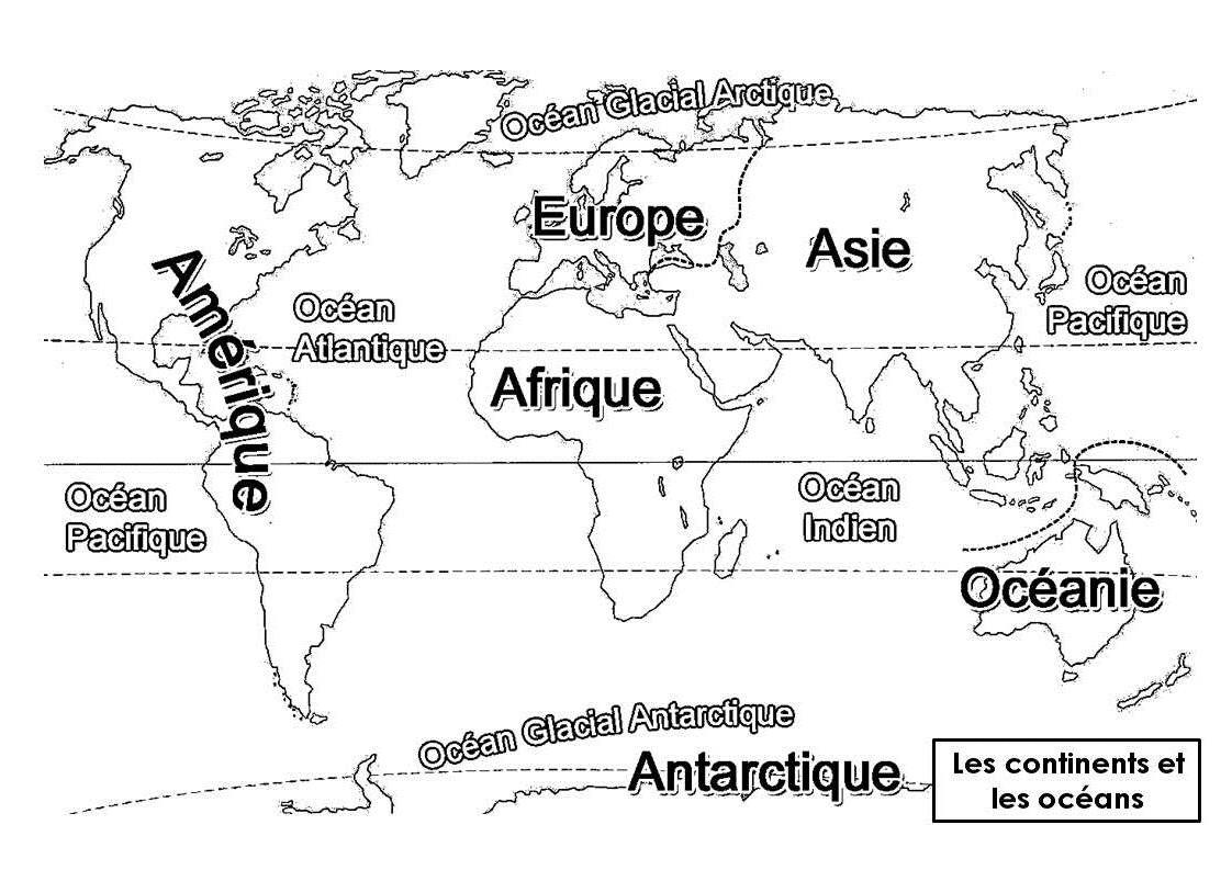 Continents Et Océans   Continents Et Océans, Carte Du à Planisphère Du Monde A Imprimer