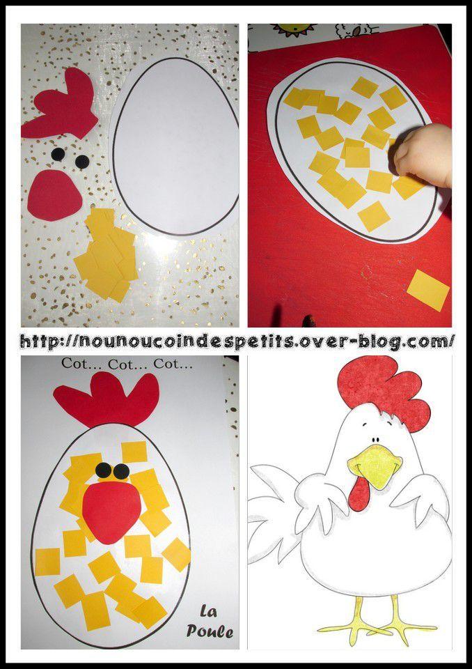 .. Cot Cot Cot La Poule !! Collage Pâques .. - Le Blog De à Découpage Collage Maternelle À Imprimer