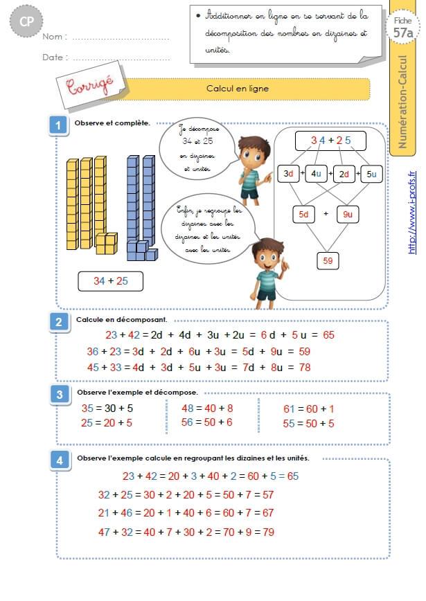 Cp:numeration Calcul.calculer En Ligne intérieur Exercice Gs En Ligne