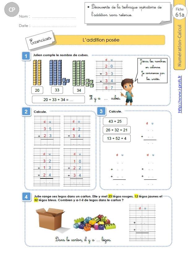 Cp:numeration Calcul.l'Addition Posée serapportantà Fiche D Exercice Cp