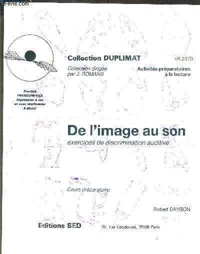 De L'Image Au Son Exercices De Discrimination Auditive concernant Discrimination Auditive