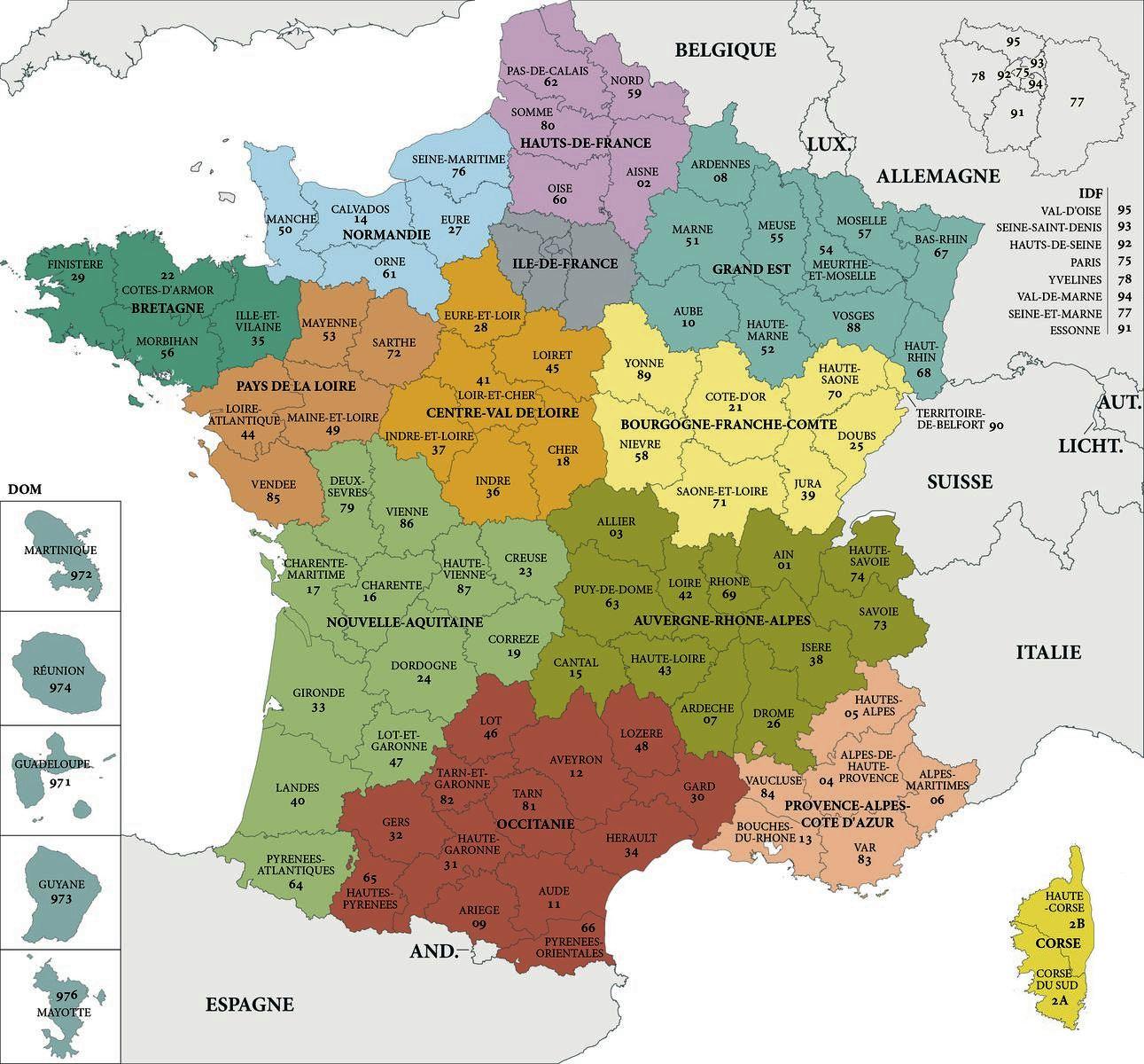 Département Français 96 - Les Departements De France avec Régions De France Liste