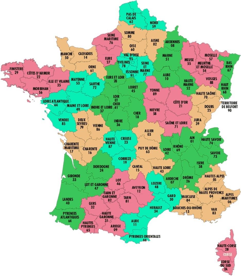 Départements De France • Voyages - Cartes à Listes Des Départements De France