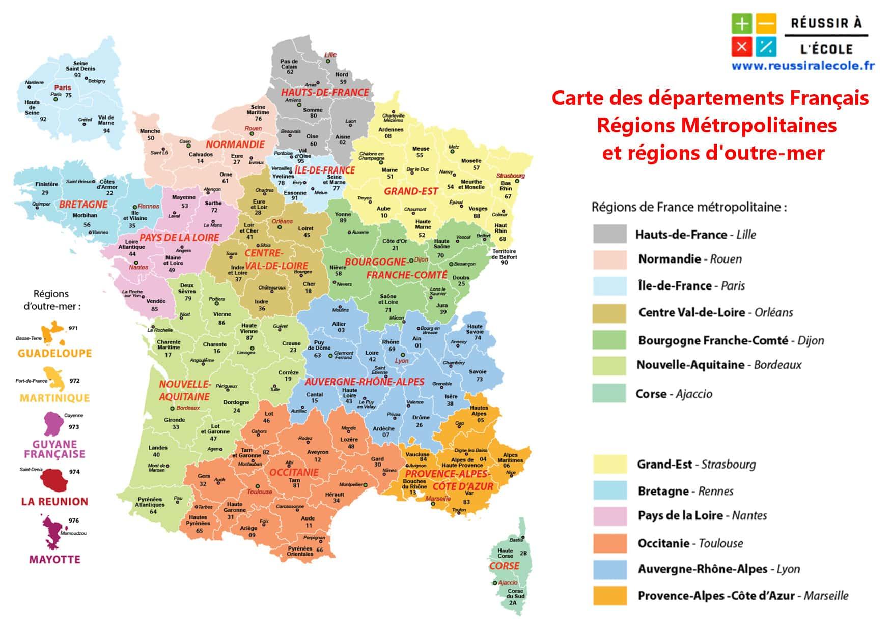 Départements Français | Carte Et Liste Des Départements concernant Departement Francais Carte