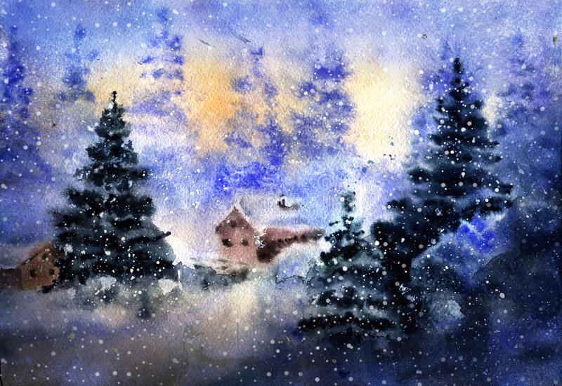 Dessin D'Aquarelle De Paysage De Pays D'Hiver Illustration à Dessin De Paysage D Hiver