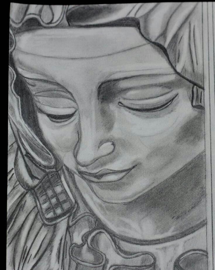 Dessin Statue De La Pieta Au Graphite concernant Je Réessaye