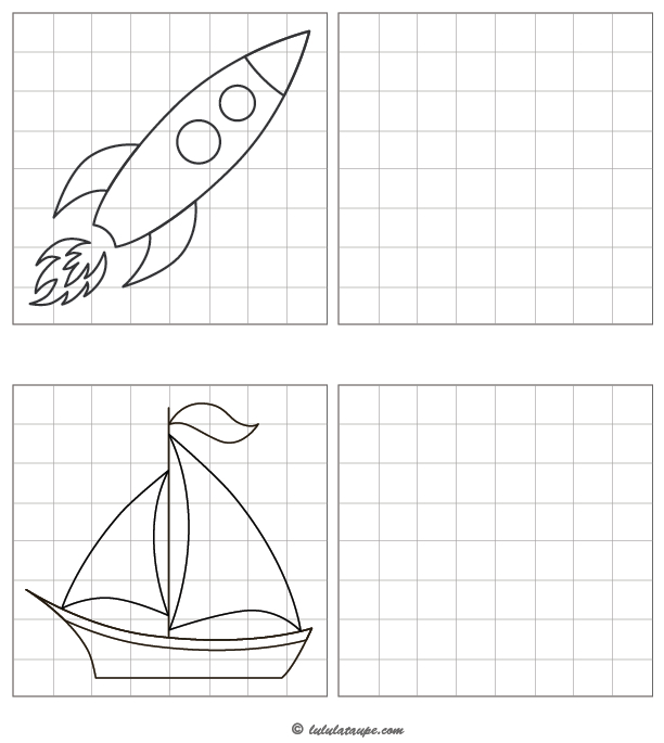Dessiner Une Fusée Et Un Voilier Sur Quadrillage - Lulu La concernant Reproduire Un Dessin Sur Quadrillage