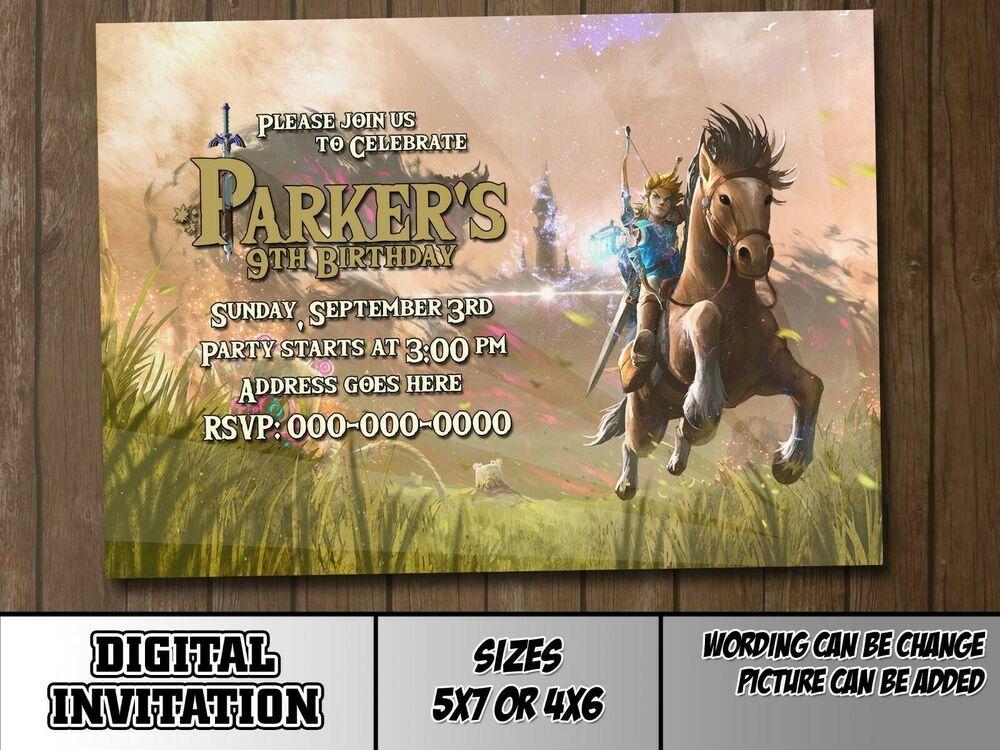 Details About The Legend Of Zelda M3 Digital Party dedans Invitation Zelda