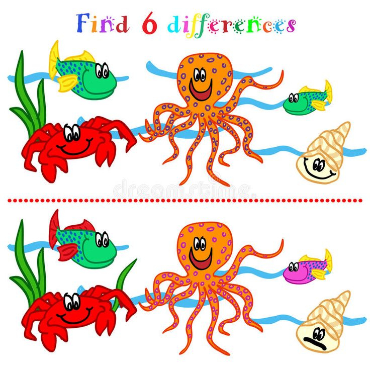 Difference Game With Marine Life. Find 6 Difference Game destiné Jeux Des 7 Différences Gratuit
