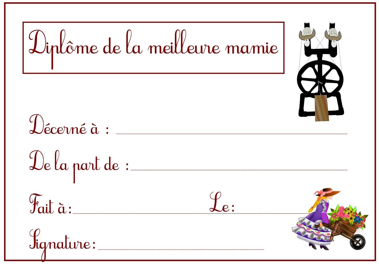 Diplôme De La Meilleure Mamie Gratuit À Imprimer destiné Modele De Diplome Gratuit À Imprimer