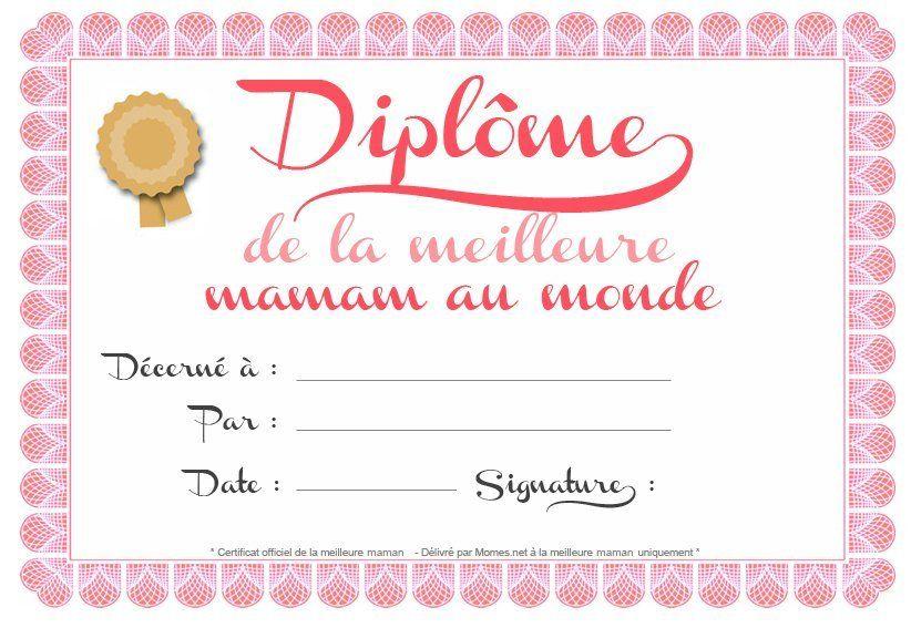 Diplôme De Maman   Bonne Fetes Mamie, Cadeau Anniversaire encequiconcerne Diplome Personnalisé Gratuit À Imprimer