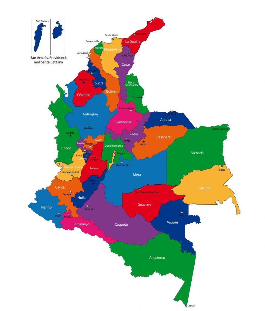 ⊛ Mapa De Colombia 🥇 Político & Físico Para Imprimir | 2021 concernant Nombre De Region