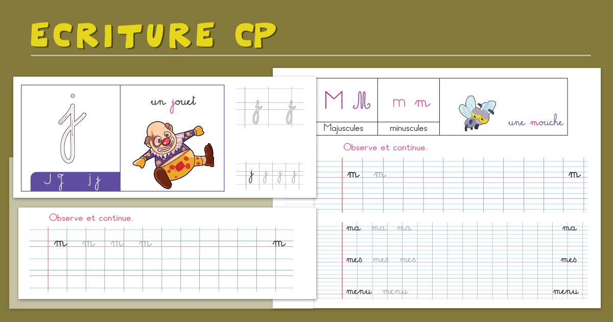Écriture Cursive Cp   Cahier D'Écriture Cp À Imprimer destiné Fiche D Exercice Cp