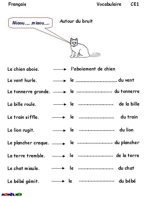Ecriture - Orthographe - Vocabulaire | Vocabulaire intérieur Exercice De Francais Ce1 À Imprimer