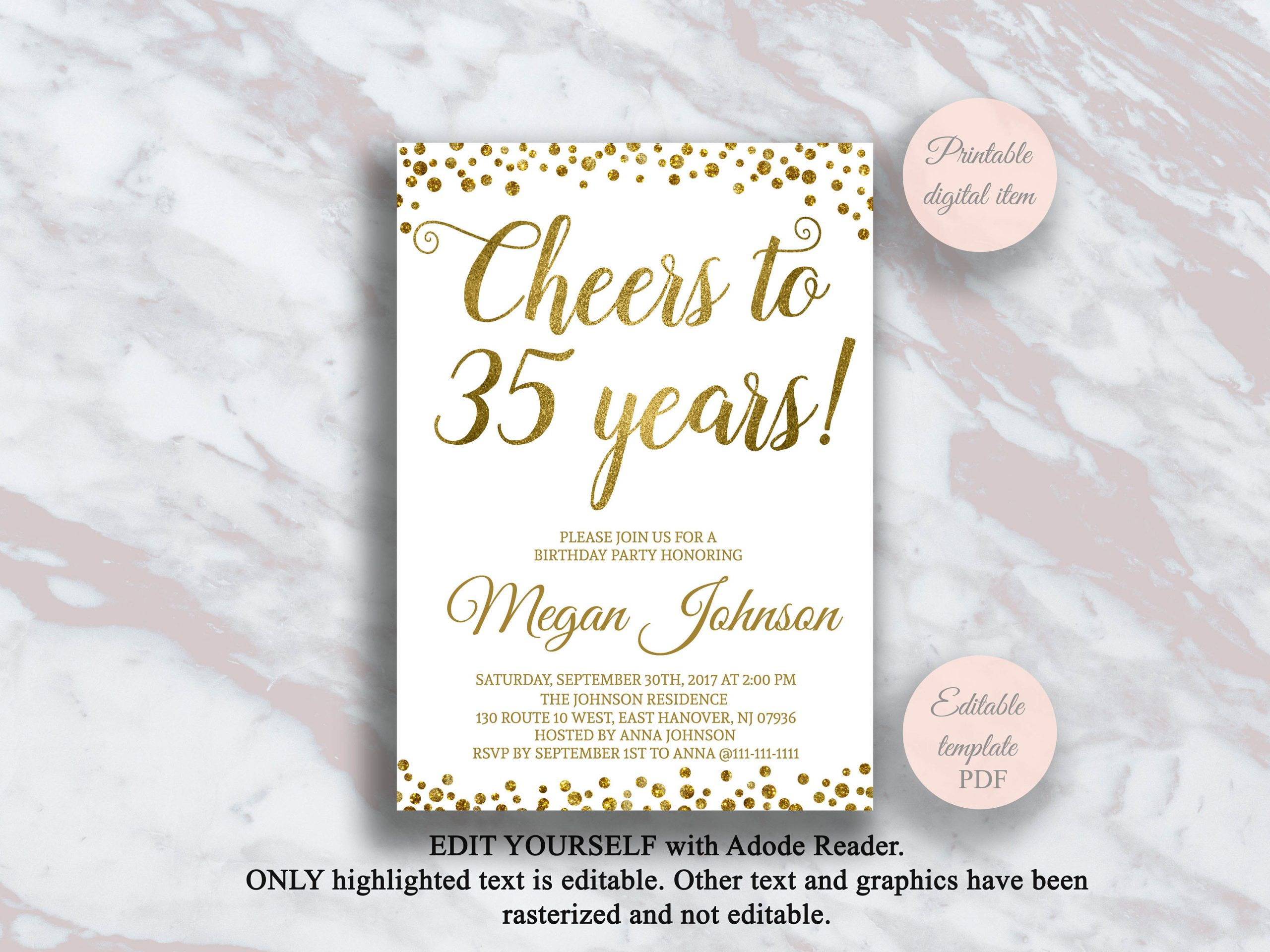 Editable 35Th Birthday Invitation Cheers To 35 Years Gold à Invitation 35 Ans