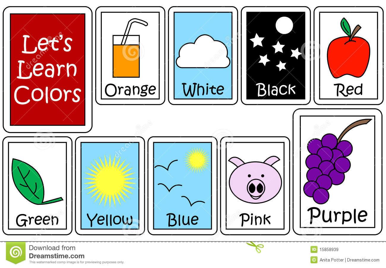 Ensemble De Couleur Flashcards Illustration De Vecteur intérieur Couleur Orange En Anglais