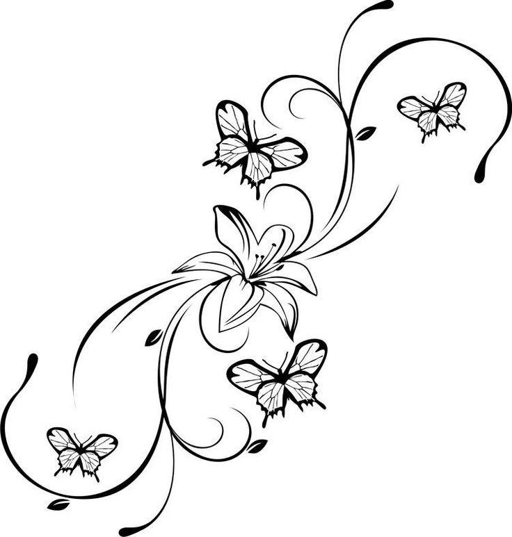 Épinglé Par Nicol Sur Deco En 2020   Tatouage De Papillon dedans Coloriage De Papillon Sur Une Fleur