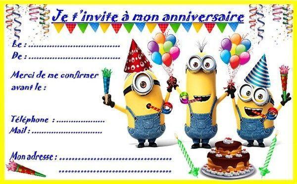 Etiquettes Et Invitations Minion Pour Les Anniversaires avec Invitation Anniversaire Garçon 6 Ans