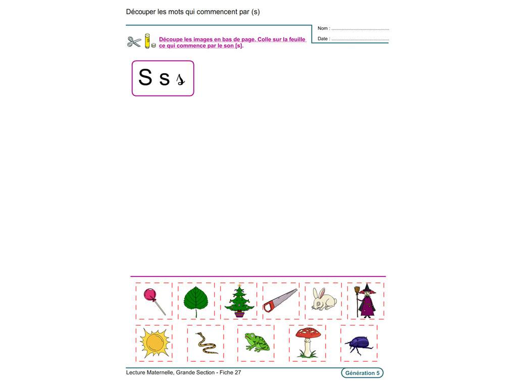 Evolu Fiches - Lecture En Maternelle Grande Section pour Exercice De Lecture Maternelle Grande Section