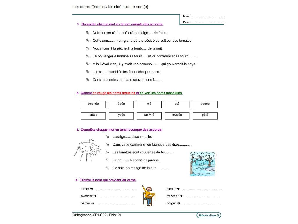 Evolu Fiches - Orthographe (Ce1-Ce2) serapportantà Exercice De Francais A Imprimer Ce1