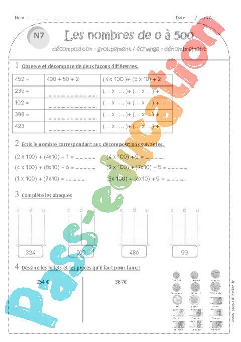 Exercice Nombres De 0 À 500 : Ce1 - Cycle 2 avec Nombres En Lettres Ce1