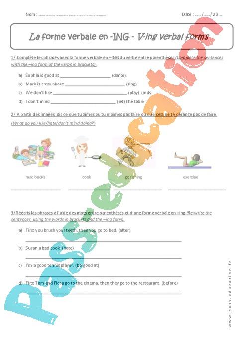 Exercice Présent En Be + Ing - Anglais : 5Ème destiné Tout Le Temps En Anglais