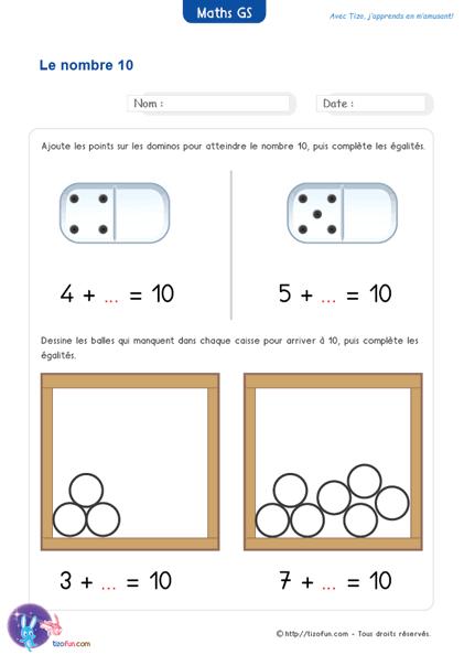 Exercices Maths Gs Maternelle Grande Section Jeux Fiches intérieur Fiche D Exercice Grande Section A Imprimer