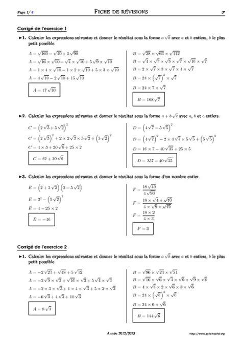 Exercices Puissances 3Ème Pdf | Maths 3Ème - Exercices De dedans Exercice De Math Sur Les Puissances