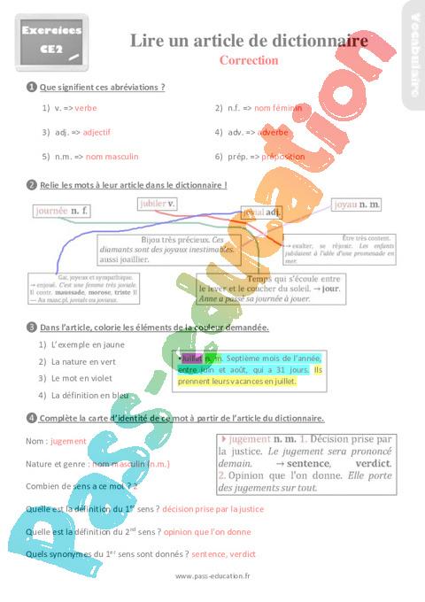 Exercices, Révisions Sur Lire Un Article De Dictionnaire concernant Combien De Mots Dans Le Dictionnaire