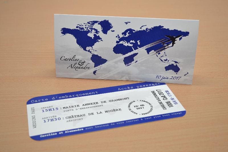 Faire-Part Billet Avion Avec Carte Embarquement Chic, Pas intérieur Invitation Anniversaire Billet Avion