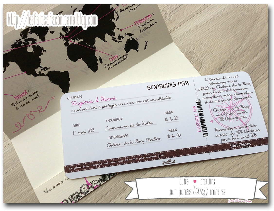 Faire-Part Billet D'Avion Rétro - Jolies Créations, Le à Invitation Anniversaire Billet Avion