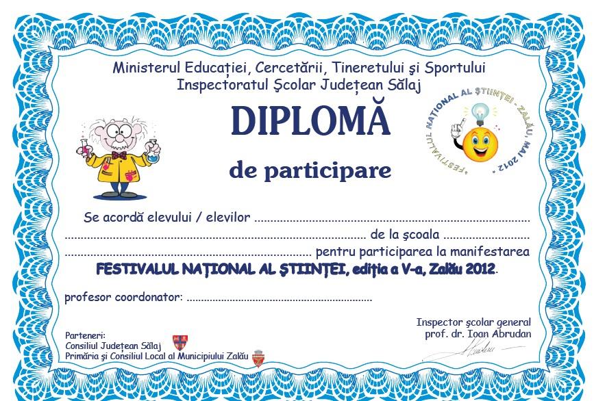 Festivalul Stiintei: Modele De Diplome à Modele De Diplome Gratuit À Imprimer