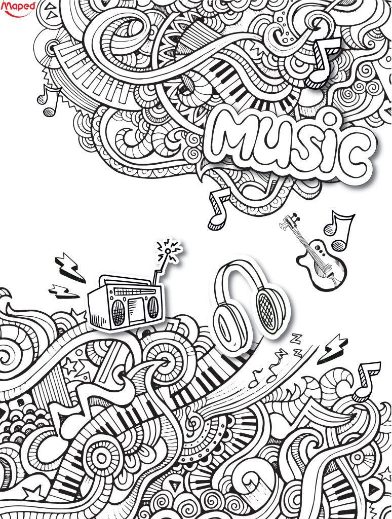 Fête De La Musique   Music Coloring, Music Doodle, Love concernant Note De Musique A Colorier