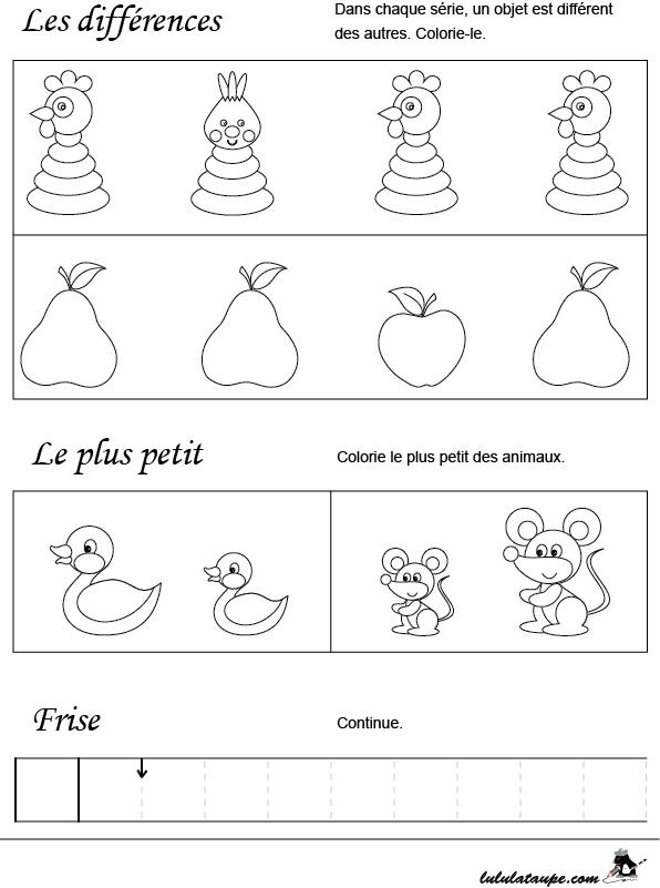 Fiche Ludo-Éducative, Initiation Aux Mathématiques - Lulu dedans Exercice Maternelle Petite Section