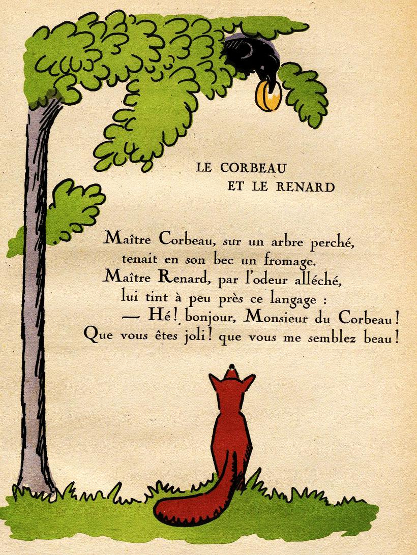 Fichier:hellé - Fables De La Fontaine - Le Corbeau Et Le intérieur Illustration Le Corbeau Et Le Renard