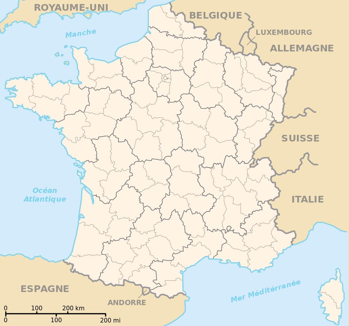 File:departements De France Map.svg - Wikipedia concernant Carte De France Avec Departement A Imprimer