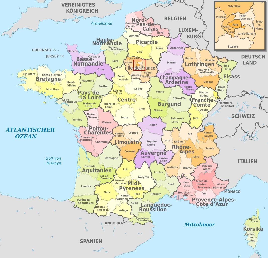 File:france, Administrative Divisions (Departments+Regions intérieur Mappe De France