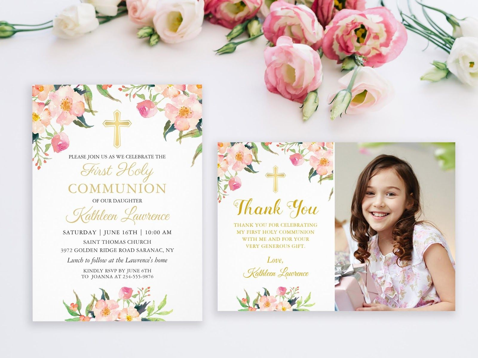 First Holy Communion Invitations And Thank You Cards destiné Invitation Originale Communion